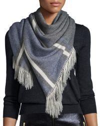 Isabel Marant - Blue Fringed Plaid Blanket Scarf - Lyst