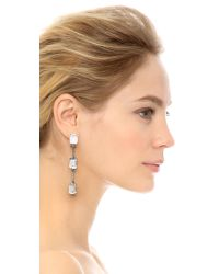 Oscar de la Renta | Metallic Triple Octagon Stone Drop Earrings - Crystal/silver | Lyst