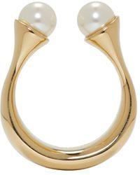 Chloé | Metallic Gold Twin Pearl Darcey Ring | Lyst