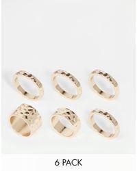ASOS | Metallic 70S Hammered Ring Pack | Lyst