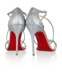 Christian Louboutin - Metallic Gwynitta 100 Glitter-Finished Leather Sandals - Lyst