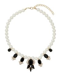 Mikey | Black Pearl Necklace With Enamel Hangings | Lyst