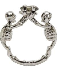Alexander McQueen | Metallic Silver Two Skeletons Ring | Lyst
