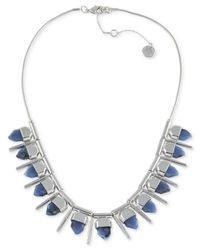 French Connection | Blue Silver-tone Stone Necklace | Lyst