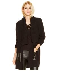 Michael Kors | Black Michael Wool-blend Contrast-pocket Sweater Coat | Lyst