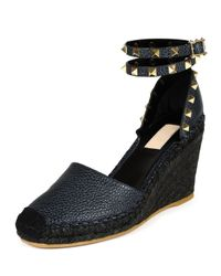 Valentino - Blue Rockstud Leather Wedge Espadrilles - Lyst