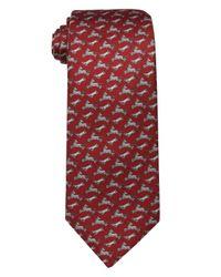 Hermès | Red And Grey Farm Animal Print Silk Tie for Men | Lyst
