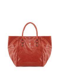 Balenciaga - Red Classic Sunday Small Tote Bag - Lyst
