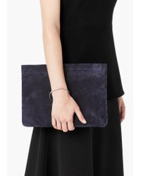 Mango | Blue Zipped Leather Clutch | Lyst