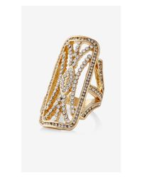 Express | Metallic Art Deco Pave Cutout Ring | Lyst