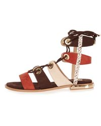 River Island Black Brown Eyelet Gladiator Sandals