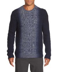 Vince | Blue Marled Degrade Wool & Cashmere Crewneck Sweater for Men | Lyst