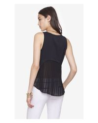 Express | Black Pleated Back Tank | Lyst