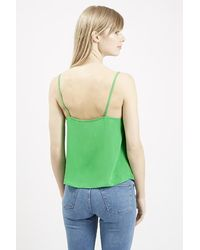 TOPSHOP - Green Button Front Cami - Lyst
