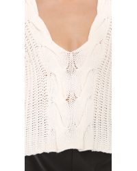 Tess Giberson | White Exaggerated Crop V Neck Sweater | Lyst