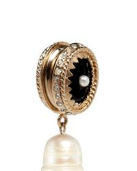 Givenchy | Black 'pendant' Crystal Pavé Faux Pearl Onyx Earrings | Lyst