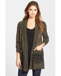 Caslon | Green Open Front Patterned Cardigan | Lyst