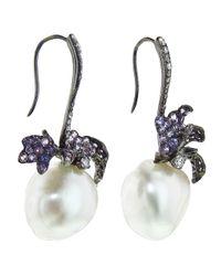 Arunashi - White Pearl and Sapphire Leaf Earring - Lyst