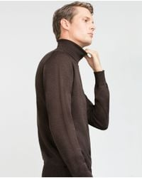 Zara | Brown Plain High Neck Sweater for Men | Lyst