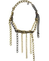 Lanvin | Metallic Gold-tone, Leather And Swarovski Crystal Necklace | Lyst