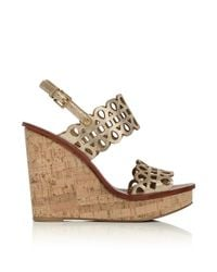 Tory Burch | Nori Metallic Wedge Sandal | Lyst