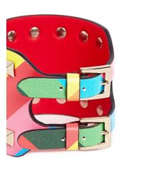 Valentino | Multicolor 'Rockstud 1973' Chevron Stripe Wide Leather Bracelet | Lyst
