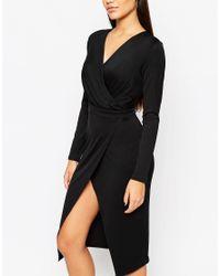 ASOS - Black Twist Drape Front Midi Pencil Dress - Lyst