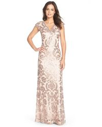 Tadashi Shoji | Pink Sequin Lace Gown | Lyst