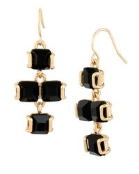 Kenneth Cole | Black Faceted Stone Chandelier Earrings | Lyst
