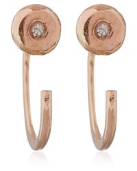 Melissa Joy Manning | Pink Rose Gold White Diamond Hug Earrings | Lyst
