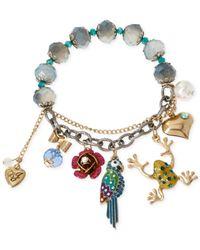 Betsey Johnson - Multicolor Gold-Tone Tropical Charm Stretch Bracelet - Lyst