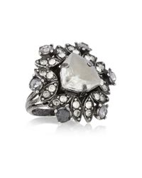 Lanvin | Metallic Gunmetaltone Glass Crystal Ring | Lyst