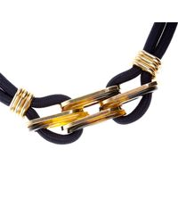 River Island - Metallic Navy Gold Detail Rope Short Necklace - Lyst