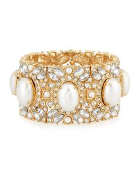 R.j. Graziano | Metallic Golden Pearly Crystal Stretch Bracelet | Lyst