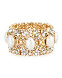 R.j. Graziano - Metallic Golden Pearly Crystal Stretch Bracelet - Lyst