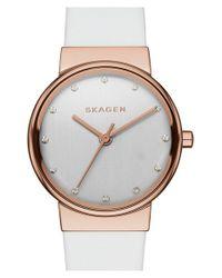 Skagen - Metallic 'ancher' Crystal Index Leather Strap Watch - Lyst