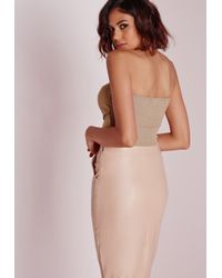 Missguided - Natural Halterneck Sheen Rib Crop Top Nude - Lyst