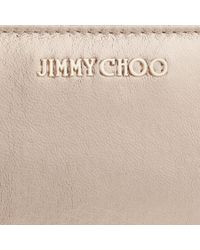 Jimmy Choo - Natural Pippa Nude And Silver Mix Metallic Crinkled Lambskin Zip Around Wallet - Lyst