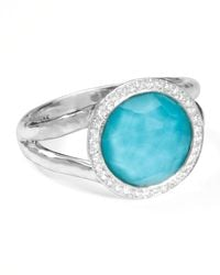 Ippolita | Metallic Stella Mini Lollipop Ring In Turquoise Doublet With Diamonds | Lyst