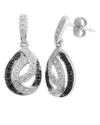 Lord & Taylor | Black Sterling Silver And Cubic Zirconia Two Tone Drop Earrings | Lyst