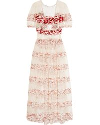 Etro - Embroidered Crepe And Printed Silk-paneled Lace Gown - Lyst