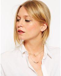 ASOS | Metallic Fine Bead & Shape Multirow Necklace | Lyst