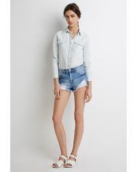 Forever 21 | Blue Western Chambray Shirt | Lyst
