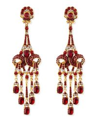 Jose & Maria Barrera | Metallic Gold-plated Red Crystal Chandelier Clip-on Earrings | Lyst