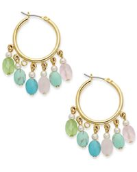 Lauren by Ralph Lauren - Multicolor Gold-Tone Pastel Bead Hoop Earrings - Lyst