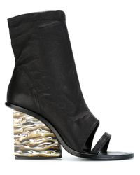 Adidas Originals - Black 'julia' Open-toe Booties - Lyst