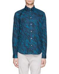 Paul Smith - Blue Wave Print Cotton Poplin Shirt for Men - Lyst