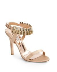 Badgley Mischka - Metallic Kallan Rhinestone Ankle Strap Satin Sandals - Lyst
