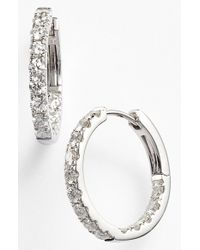 Bony Levy | Metallic Diamond Inside Out Hoop Earrings | Lyst