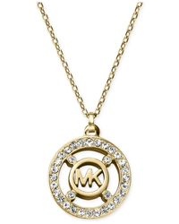 Michael Kors | Metallic Crystal Logo Pendant Necklace - A Macy'S Exclusive | Lyst